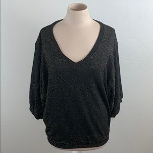 Ella Moss Black & Gold Metallic Slouchy Knit Top